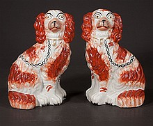 Pair of decorated Staffordshire dogs, c.1900, 10