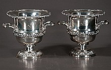 Exquisite pair of silver plated wine coolers with shell and rope design around the top, double handles and grape and leaf design, c.1920, 11