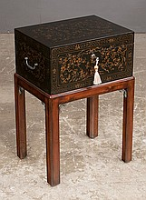 Chinoiserie black lacquer box on stand with  hinged lid and square chamfered legs, 17