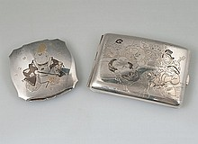 Japanese sterling silver etched compact, 3