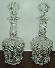 Exceptional pair of cut crystal decanters with cut stoppers, c. 1920 , 14
