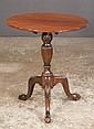 Chippendale mahogany tripod tip table, legs have acanthus carved knees and ball and claw feet, 23