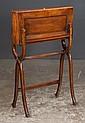 Sheraton mahogany travelling lap desk on a folding stand, c.1880, 24