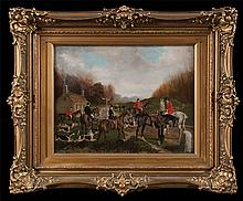 19th century oil painting on canvas, English fox hunting scene with six huntsmen and woman on horseback, canvas size, 14