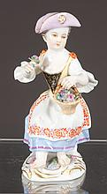 German Meissen figure depicting seated girl wearing hat with basket of flowers, c.1890, 5