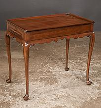 Queen Anne style mahogany tray top tea table with pull out candle slides, by
