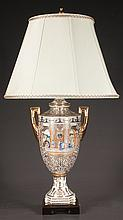 Porcelain urn shape lamp with court scene decoration and gold gilt handles, 32