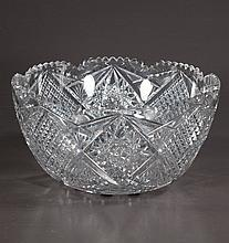 American Brilliant Period cut glass punch bowl with scalloped top, 13