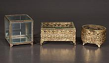 Collection of three Matson style jewelry caskets including a 6