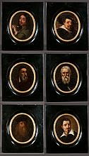 Set of six oil paintings on board, Florentine portraits of old Masters done by Florentine painters for the Varian Gallery in Florence, panel size-6
