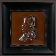 Bronze bust of Napoleon in a black lacquered frame, overall size is 11.5