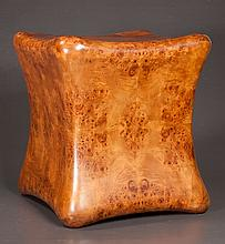 Unusual shaped burl finish stool, 16.5