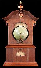 Rare Timby solar clock with arched pediment and acorn shape finial, with 6