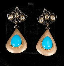 Pair of 18K yellow gold and silver diamond and turquoise dangle earrings, turquoise are approx. 12.00 cts and 6 rose cut diamonds are approx. 2.00 cts.