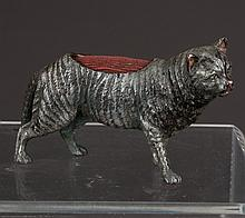 Cold painted bronze depicting a cat fitted as pin cushion, 5
