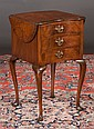 Queen Anne style walnut drop leaf stand with kidney shape top and three drawers, c.1900, 15