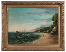 Early 20th century oil painting on canvas, ocean scene with sailing ship and three men pulling a small boat to shore, signed Beals, canvas size 30