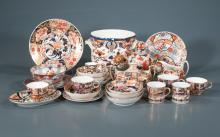 Collection of 29 pieces of early Derby china and ironstone, plates bowls, cups and saucers, urns and a fruit cooler, As Found