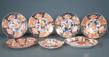 Group of five early Derby china and ironstone plates and two oval platters, all As Found, seven pieces