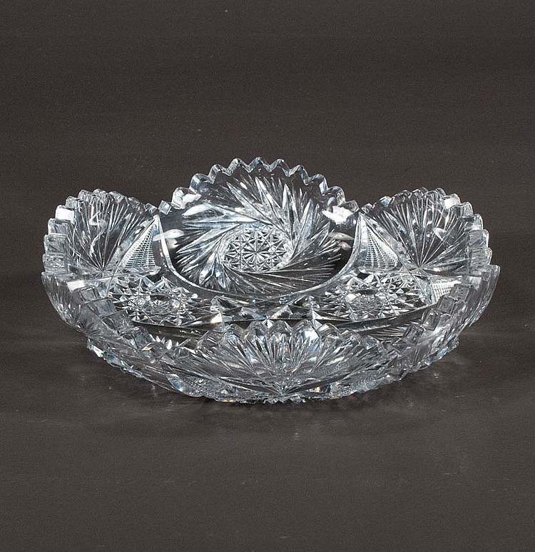 Cut glass round dish with scalloped top and pinwheel cut design, 9