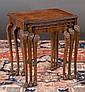 Nest of three Queen Anne style burl walnut tables with carved tops and carved cabriole legs, c.1920, 22