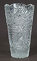 Cut glass vase with scalloped top and a diamond cut design, 12