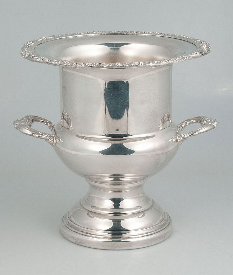 Silver plated wine cooler with scroll and floral design border and shaped handle, 10