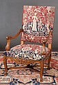 Country French style walnut open armchair upholstered with needlepoint tapestry on carved cabriole legs and scroll feet, c.1930, 27