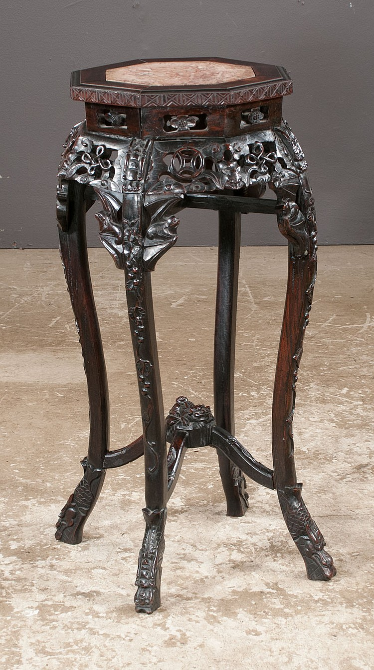 Chinese carved teakwood stand with inset marble top, pierced carved apron, carved legs and shaped stretcher, c.1890, 16