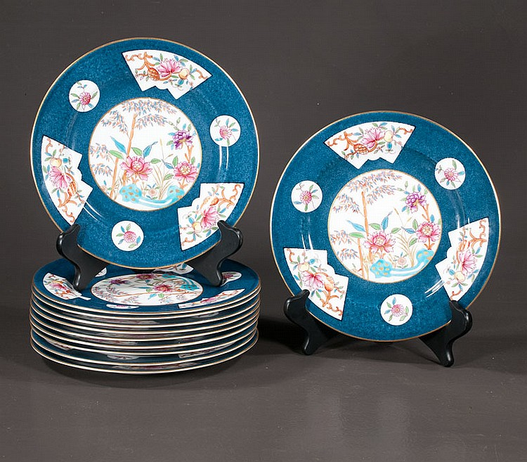 Group of 11 Royal Worcester dinner plates made for Tiffany and Co., with multicolor floral decoration, 10