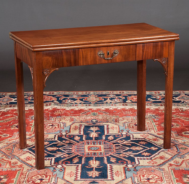 18th century Chippendale mahogany lift top game table, 36