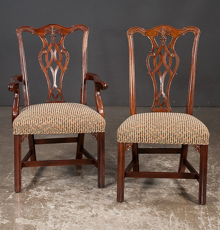 Set of eight Chippendale style mahogany dining chairs with interlaced carved backs, carved corner blocks, straight legs and stretchers, by Henredon Furniture Co.; armchairs-22