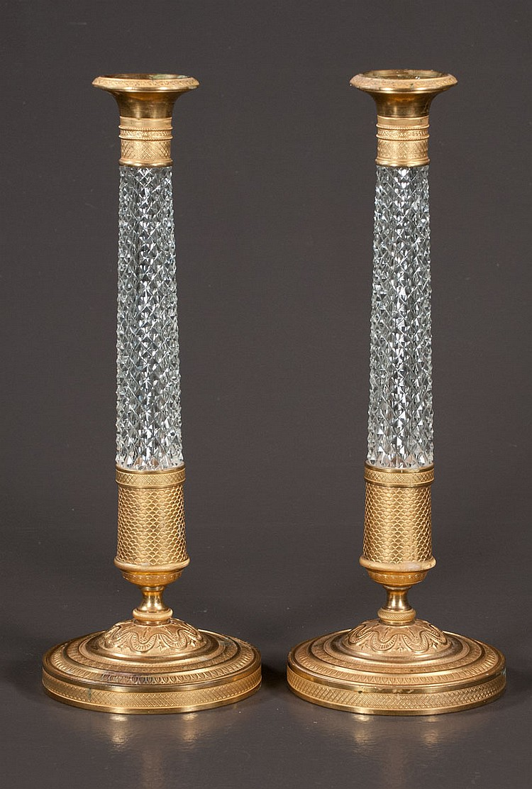 Pair of Austrian bronze and crystal candlesticks, 13