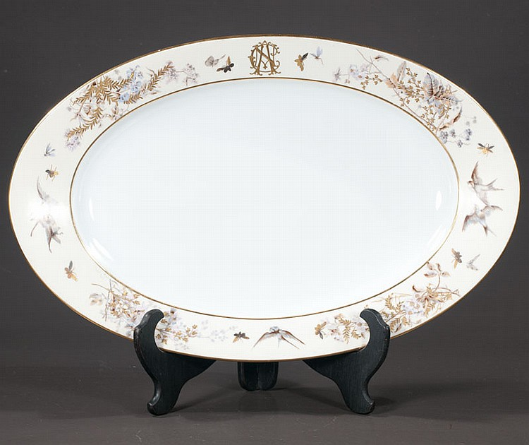Austrian oval china platter with bird, bees and gold foliage decoration, c.1840, 23