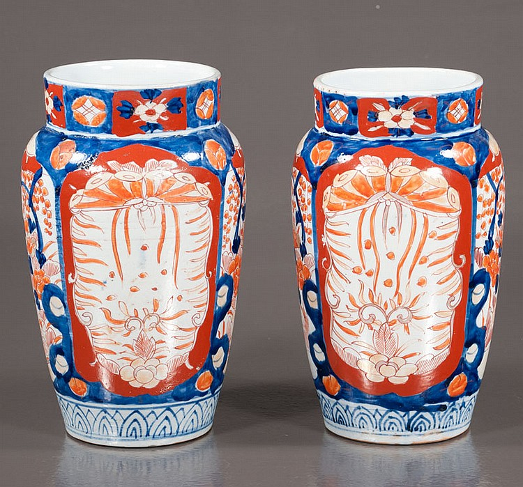 Pair of Japanese Imari baluster shaped vases Meiji period (1868-1912),  9