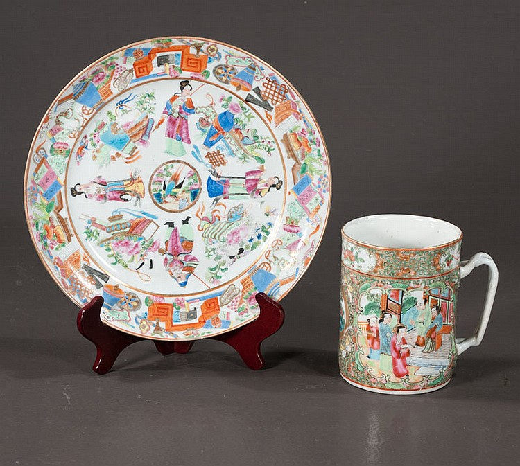 19th century Chinese Rose Mandarin porcelain plate with multicolor figural decoration, 10