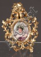 German painting on porcelain of woman with wreath in hair signed