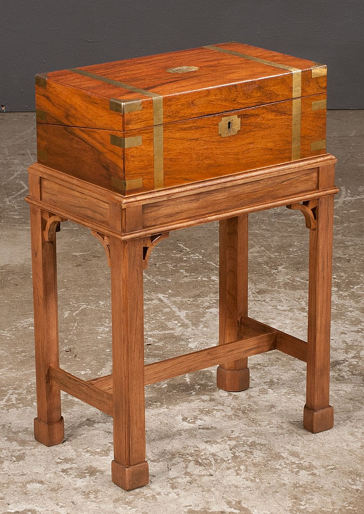 Sheraton mahogany brass bound lap desk with good fitted interior with two crystal ink wells, c.1880, and on a later Chippendale style mahogany stand, 17