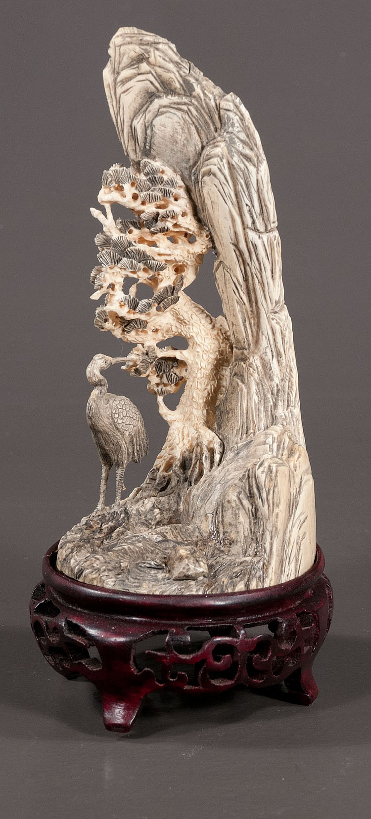 19th century Chinese carved ivory group with a crane at the base of a tree and a rock formation, 4