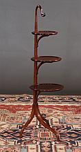 Sheraton style mahogany three tier muffin stand with string satinwood inlay and graduated shelves, c.1900, bottom shelf, 12