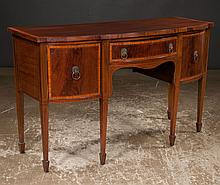 Sheraton mahogany serpentine front sideboard with satinwood  banded top and drawer fronts on square tapered legs with spade feet, c.1890, 60