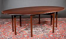 Chippendale style mahogany drop leaf hunt table with oval shaped drop leaves and straight moulded legs, 93