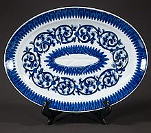 Oval blue and white ironstone platter with scroll decoration, c.1890, 20