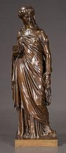 19th century French bronze sculpture of a classical woman, signed