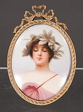 German miniature oval painting on porcelain of a woman wearing a laurel wreath in her hair in bronze frame, 3