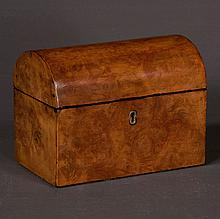 Sheraton burl walnut dome top tea caddy with fitted interior, c.1880, 7