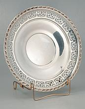 Sterling silver plate with reticulated border, c.1910, by