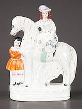 Staffordshire figure of a lady on horseback and a young girl standing next to the horse, c.1880, 13