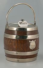 Scottish oak biscuit barrel with silver plated mounts and porcelain liner, c.1900, 6