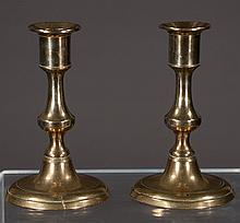 Pair of Georgian brass candlesticks on circular bases, c.1830, 5
